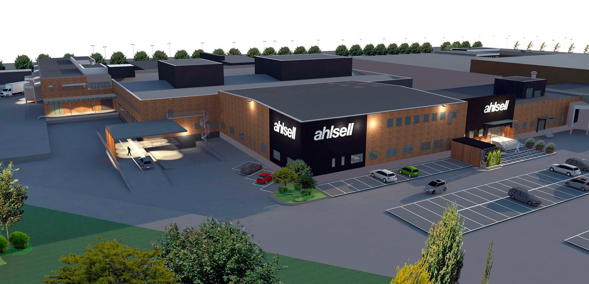 Arkitektskiss över Ahlsells nya yrkesbutik i Norrköping