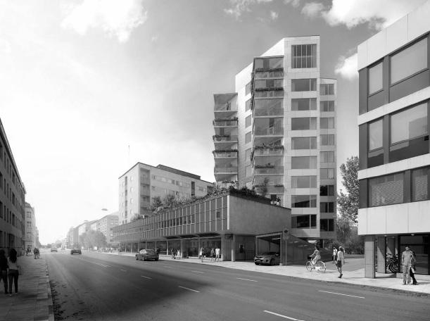 Det nya punkthuset sett från S:t Larsgatan. Illustration av Kod Arkitekter